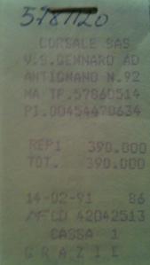 Lo scontrino di 399 carte da mille che consegnai al giocattolaio il 14 febbraio del 1991 per ottenere quella scatola nera delle meraviglie.