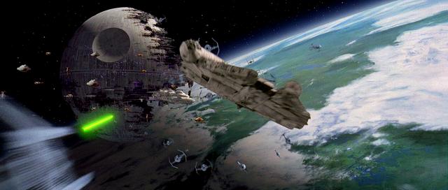 Il Millenium Falcon nella Battaglia di Endor