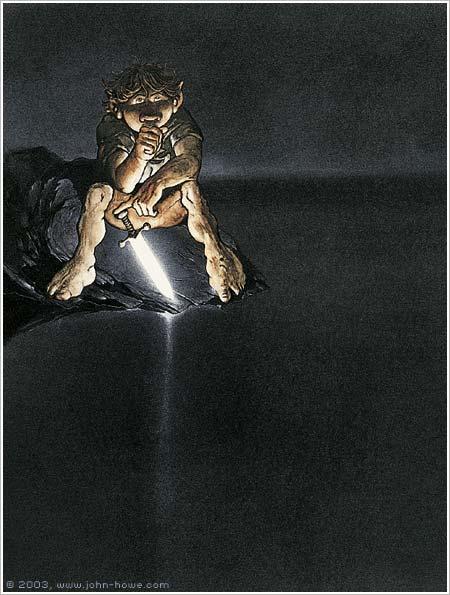 Riddles in the Dark - Bilbo © 2003 John Howe. Website: www.john-howe.com