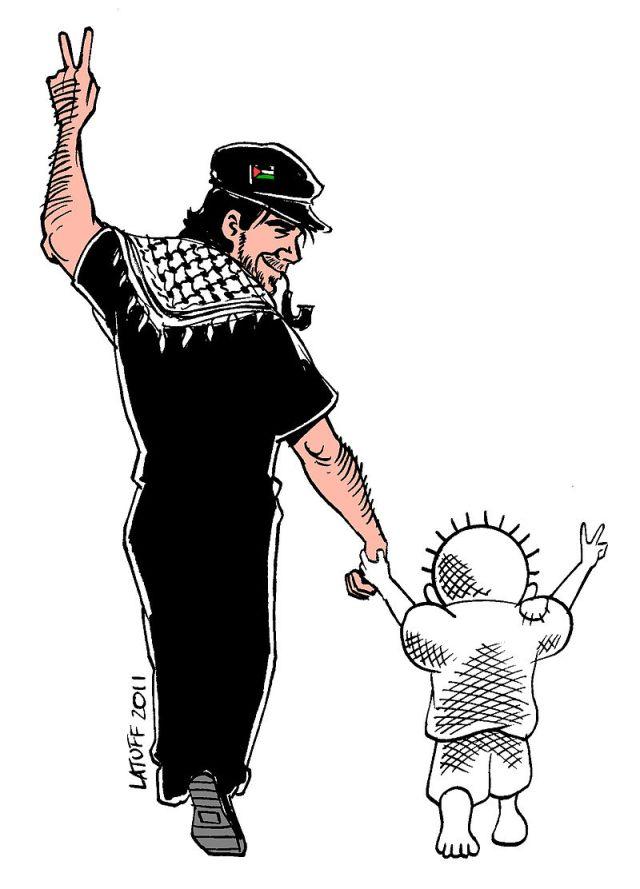 Vittorio Arrigoni con Handala, in un disegno di Carlos Latuff
