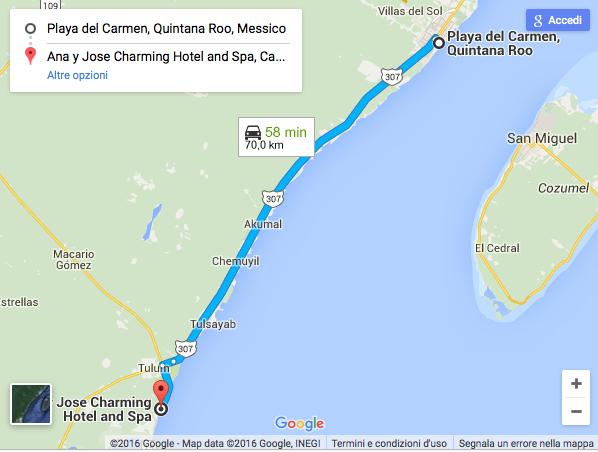 Itinerario da Playa a Tulum (zona hotelera). Clicca sull'immagine per andare su Google Maps