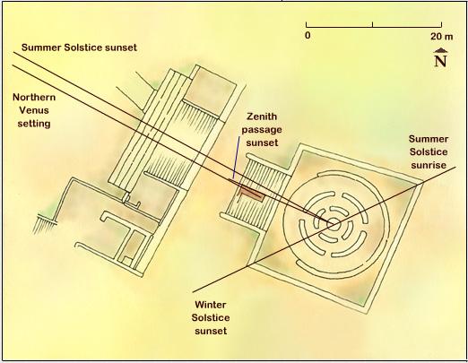 El Caracol: allineamenti dell'edificio. (Immagine da www.exploratorium.edu)