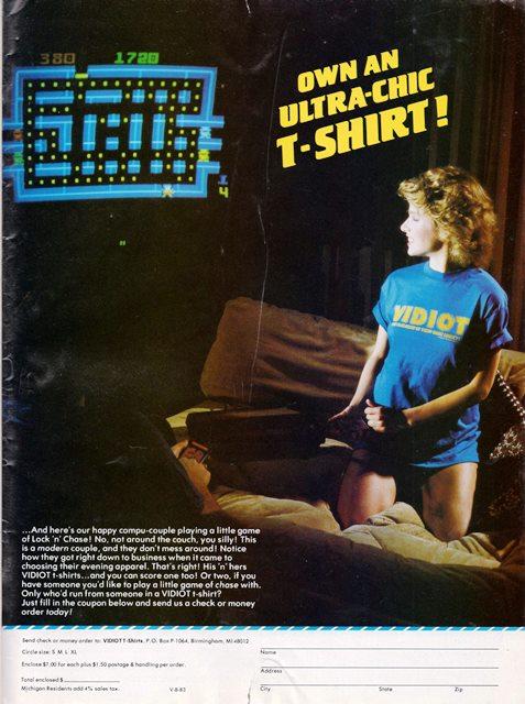 Non solo per bambini. Pubblicità di Lock'n'Chase per Intellivision. La Vidiot t-shirt è una genialata.