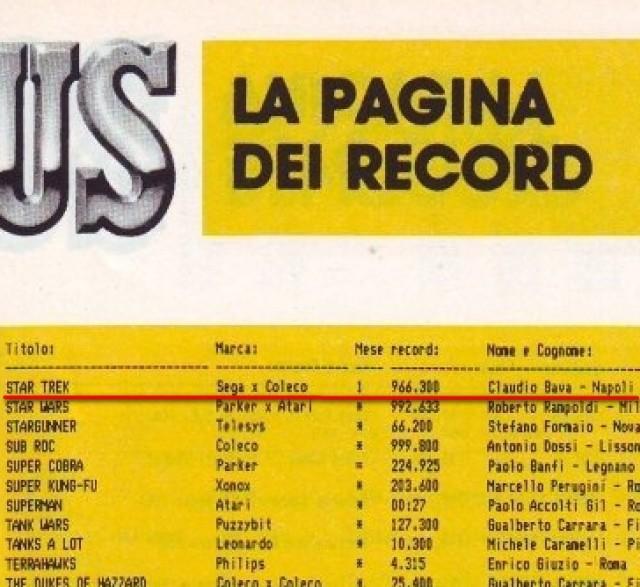 Star Trek - Sega per Coleco - 966.300 punti - Claudio Bava