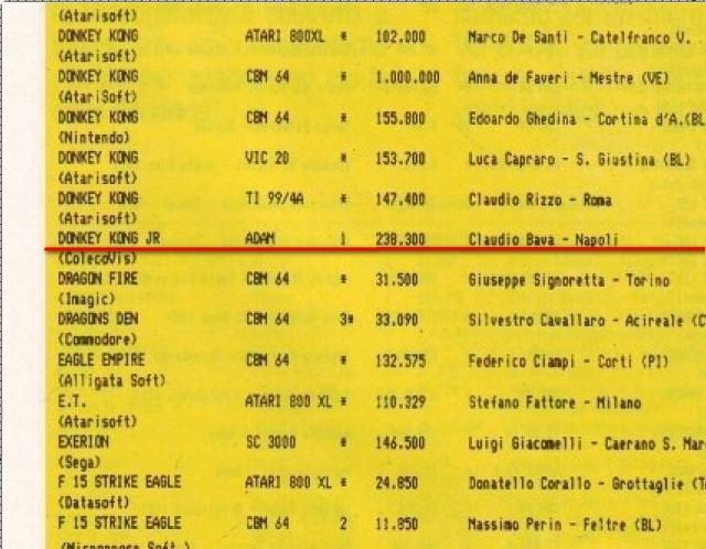 Donkey Kong JR - Adam - 238.000 punti - Claudio Bava