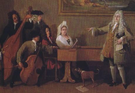 Prova di un'opera. Dipinto di Marco Ricci, 1709. A destra il cantante Nicolini. (fonte: Wikipedia)