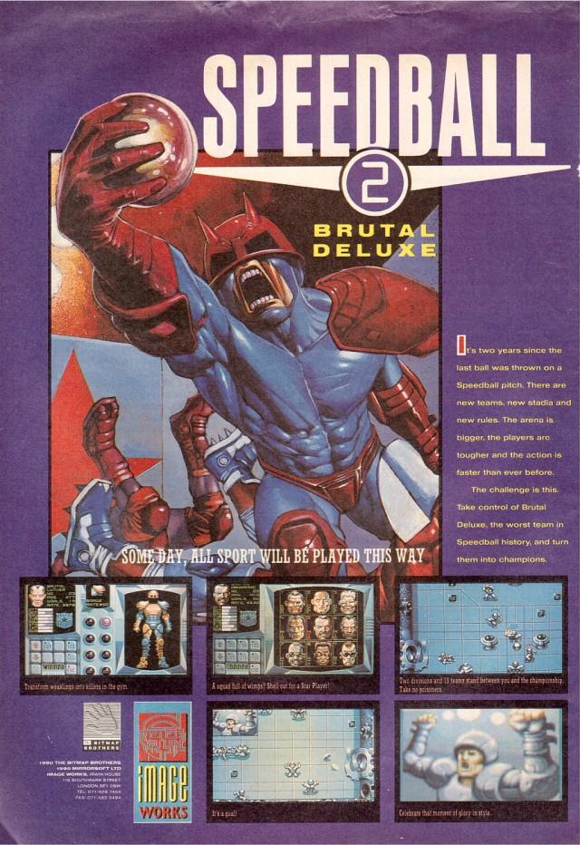 Scansione pubblicità Speedball 2 dalla rivista Computer+Videogame