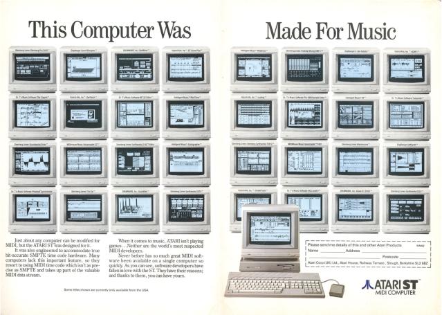 Pubblicità Atari ST da Micro Music, Agosto 1989 pag.78 e 79 (fonte: https://www.muzines.co.uk)
