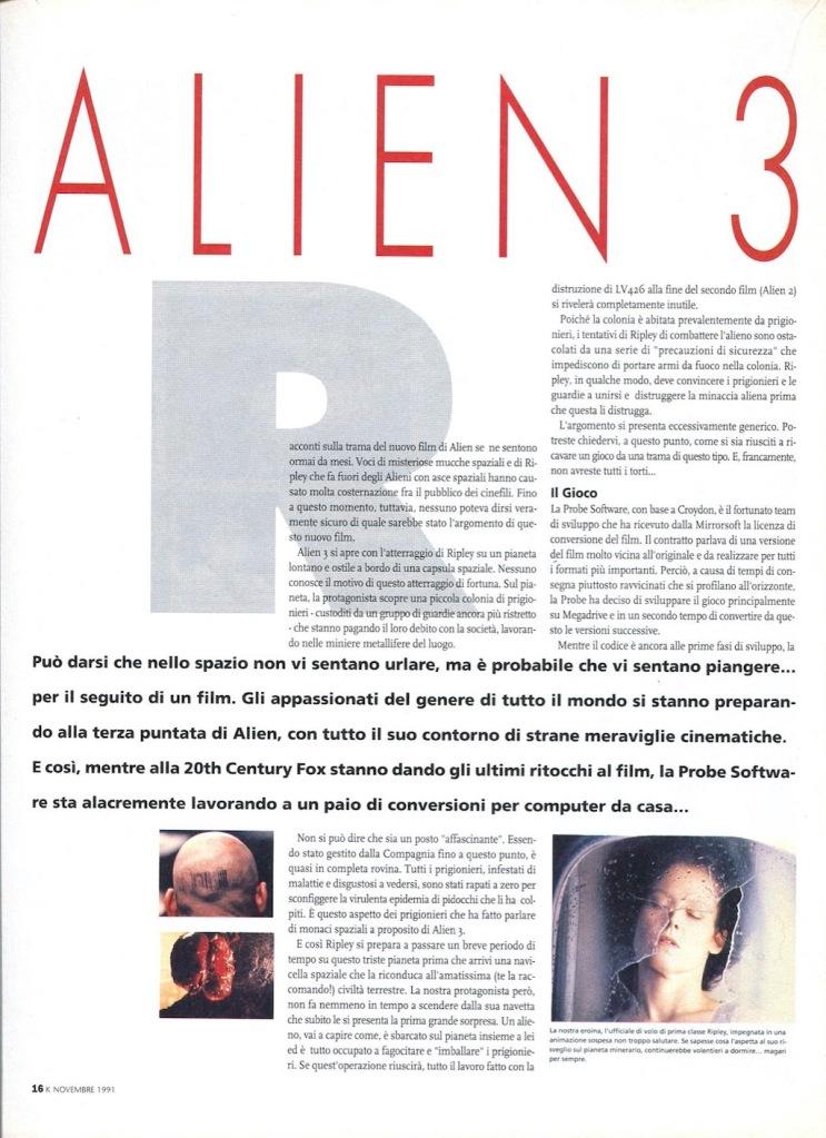 pagina 1 di anteprima del videogioco Alien 3 su K n.33