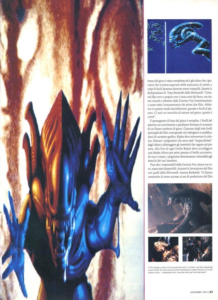 pagina 2 di anteprima del videogioco Alien 3 su K n.33