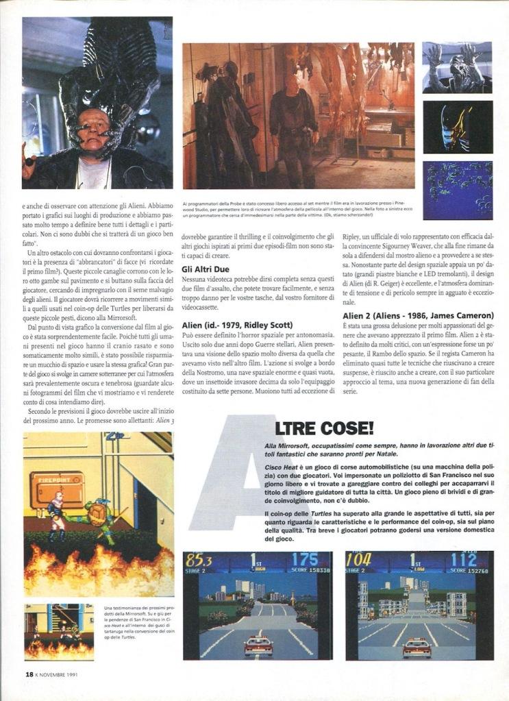 pagina 3 di anteprima del videogioco Alien 3 su K n.33